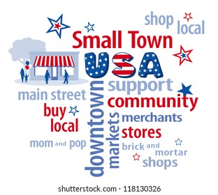 Small Town USA Word Cloud with main street graphic in patriotic red, white and blue, stars and stripes. To support shopping at local brick and mortar community shops, neighborhood markets, businesses.