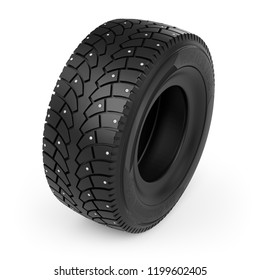 Small Toy Winter Studded Tire Icon on White Background. Spiked Tyre Design Element. 3D Illustration.