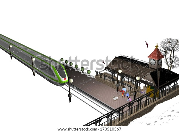 a small train station with an approaching train, in winter, two girls and a dog are waiting  at the station, 3D illustration, raster illustration