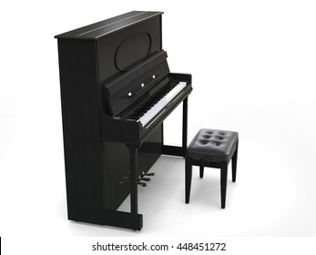 Small upright piano with piano bench - on white background - side view - 3D render