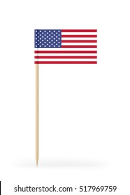 Small USA flag on a toothpick. The flag has nicely detailed paper texture. High quality 3d render. Isolated on white background.
