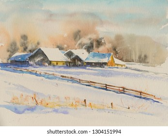 Small village at sunset covered with snow. Picture created with watercolors.