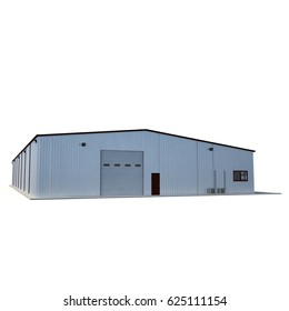 Small warehouse building on white. 3D illustration
