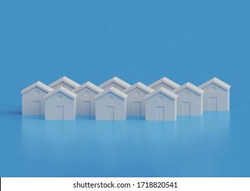 Small white houses, futuristic town block abstract cgi representation, 3d illustration
