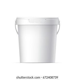 Small White plastic bucket with White lid. Product Packaging For food, foodstuff or paints, adhesives, sealants, primers, putty. 3D illustration