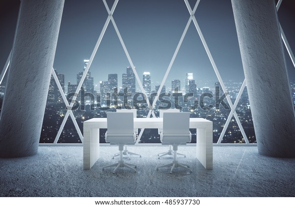 Small Wooden Conference Table Abstract Office Stock Illustration 485937730