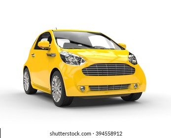 Small Yellow Compact Car - Front Headlight View