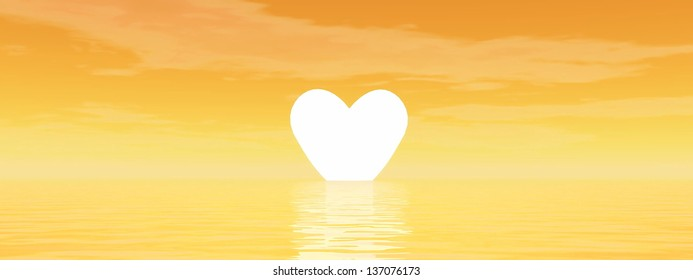 Small yellow heart upon the ocean as for sunset in orange background
