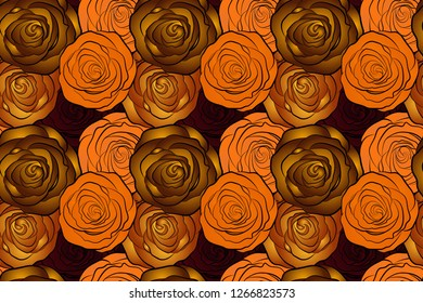 Small yellow, orange and brown flowers. Spring raster floral background. Cute seamless pattern in small rose flowers. The elegant template for fashion prints.
