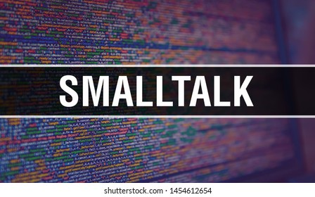 Smalltalk with Binary code digital technology background. Abstract background with program code and Smalltalk. Programming and coding technology background. Smalltalk with Program listing