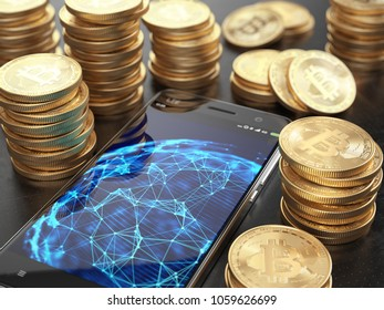 Smarphone with network connections on screen and Stacks of Bitcoins. Cryptocurrency concept. 3d rendering