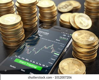 Smarphone with trade application and Stacks of Bitcoins. Trading cryptocurrency concept. 3d rendering