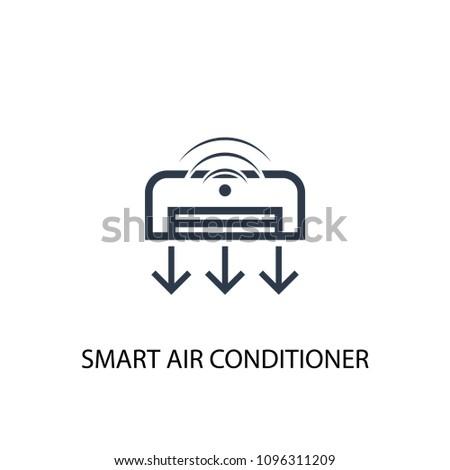 Smart Air Conditioner Icon Simple Element Stock Illustration