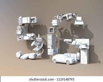 Smart appliances, drone, autonomous vehicle and robot arranged in '5G' text. White shade. 5G concept. 3D rendering image.
