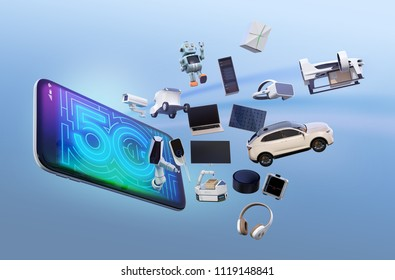 Smart appliances, drone, autonomous vehicle and robot jump from smart phone, 5G concept. 3D rendering image.