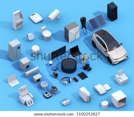Smart appliances on blue background. Internet of Things and home automation concept. Consumer products. 3D rendering image.