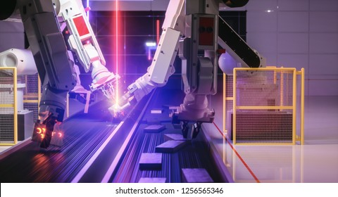 Smart automation industry robot in action welding metall - industry 4.0 concept - 3D Rendering