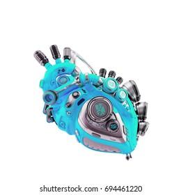 Smart blue robotic heart, 3d rendering