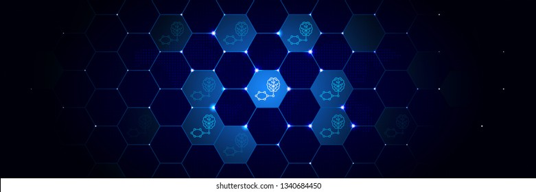Smart brain artificial intelligence icon in the technological comb bacground