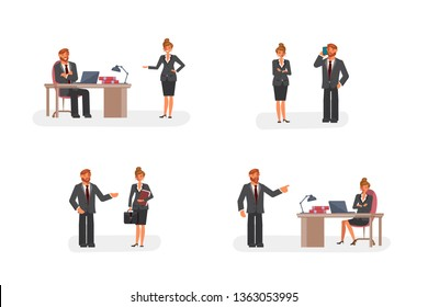 Smart businessman and woman character creation set with various views, face emotions, poses and gestures in cartoon style. Flat Art Rastered copy