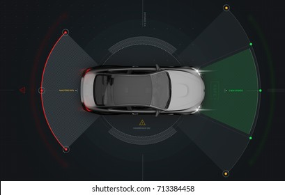 Smart car sensors - futuristic concept, top view (with grunge overlay) - 3D illustration