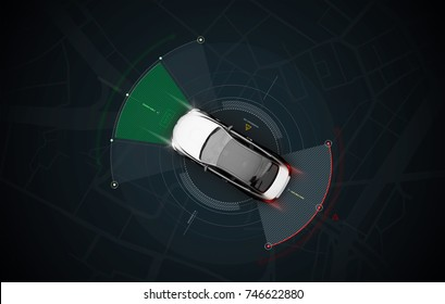 Smart car sensors - futuristic concept, top view with background map - 3D illustration