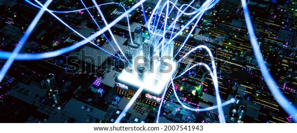 Smart chip processor with buildings. Abstract aesthetic Intricate wave line design . Big data connection technology concept. 3d rendering