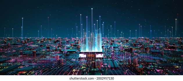Smart chip processor with buildings. Big data connection technology concept. 3d rendering