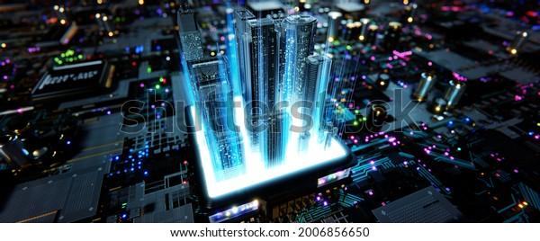 Smart chip processor with buildings.  Smart city concept. 3d rendering