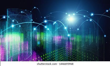 Smart city concept. Communication network. 5G.