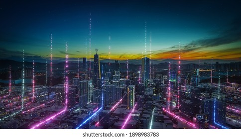 Smart city with particle glowing light connection design, big data connection technology concept. 3d rendering