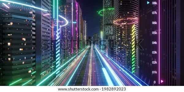 Smart city with speed light data connection. Technology concept . 3d rendering
