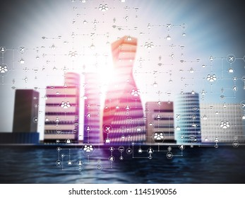 Smart city using futuristic connexion technology.3d rendering