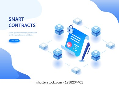 Smart contract concept. Can use for web banner, infographics, hero images. Flat isometric  illustration isolated on white background.