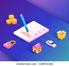 Smart contract concept illustration.