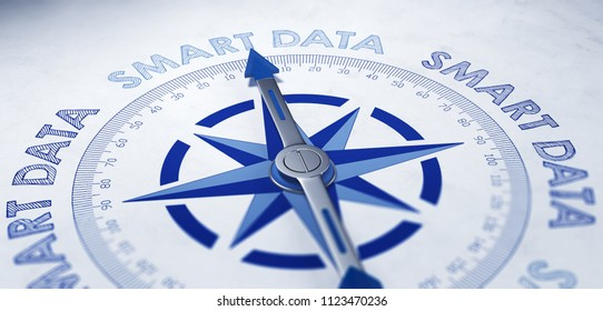 Smart Data concept using a blue and white magnetic compass with needle framed with the repeat phrase - Smart Data