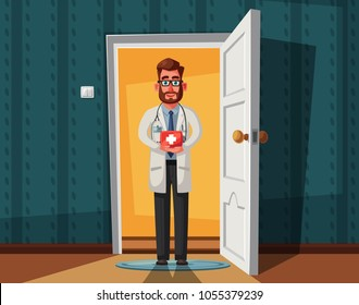 Smart doctor. Funny character design. Cartoon illustration. Healthcare concept. Handsome male. Cute physician person. Open door. Inside of home. Interior of house