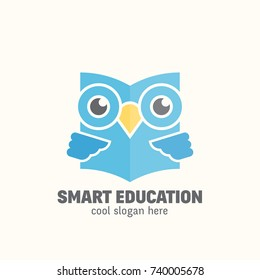 Smart Education Abstract  Logo Template. Learning Emblem. Flat Style Wise Owl Reading Book Concept with Typography. Isolated. Raster copy.
