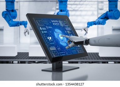 Smart factory concept with 3d rendering robot working with computer in factory