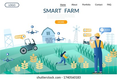 Smart farm website template, web page and landing page design for website and mobile site development. Unmanned aerial vehicles drones, iot smart farming technology in agriculture.