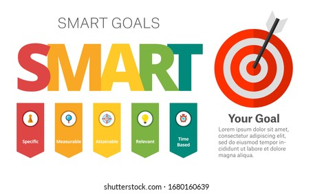SMART Goals Setting. Option diagram, acronym, template. Creative concept for infographics, presentation, project. Can be used for topics like business, training, management.
