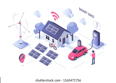 Smart grid concept design. Can use for web banner, infographics, hero images. Flat isometric illustration isolated on white background.