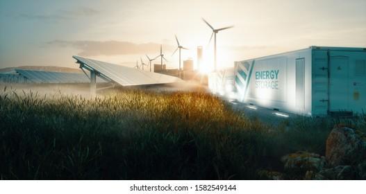 Intelligente Netzsysteme für erneuerbare Energien für künftige intelligente Städte bei Sonnenuntergang. 3D-Rendering