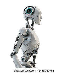 Smart handsome robot man torso with an open mechanical digestive system, 3d rendering