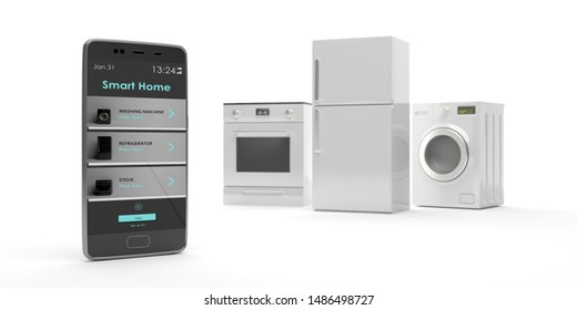 Smart home app, remote control. Home appliances set and mobile phone against white background. Fridge, electric stove and washing dryer machine. 3d illustration