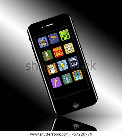 Smart Home Apps Your Phone Illustrated Stock Illustration 757220779