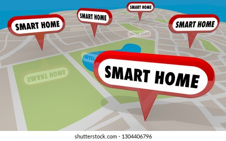 Smart Home Automation Houses Map Pins 3d Illustration