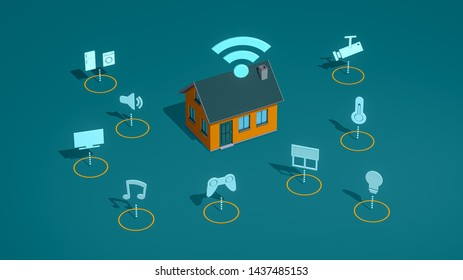 smart home concept animation, remote control with, wifi, isometric view (3d render)