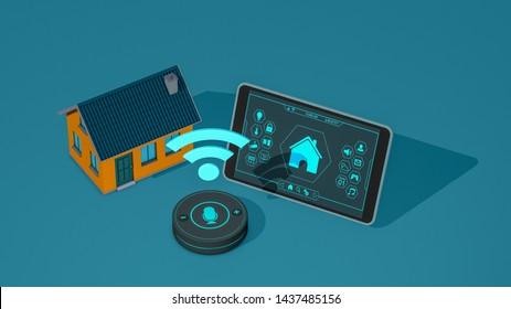 smart home concept animation, remote control, vocal assistant, wifi, isometric view (3d render)