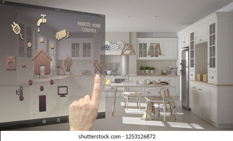 Smart home control concept, hand controlling digital interface from mobile app. Background showing scandinavian classic kitchen, dining table and chairs, architecture interior design, 3d illustration